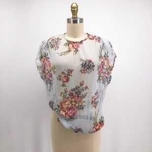 Vintage Tops - Vintage California Smartys Cabbage Rose Mesh Shirt